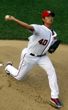 Wang pitching for the Washington Nationals in 2011
