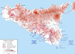 Map of the Allied landings in Sicily on 10 July 1943.