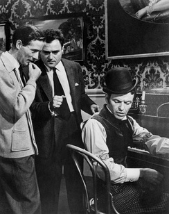 Michael Anderson, Michael Todd and Frank Sinatra on set