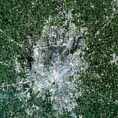 Landsat simulated-color image of the Indianapolis metropolitan area.