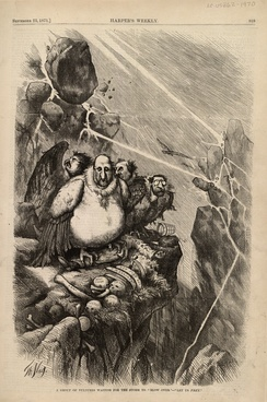 "A Group of Vultures Waiting for the Storm to ""Blow Over""—""Let Us Prey."" by Thomas Nast, Harper's Weekly newspaper, September 23, 1871.  ""Boss"" Tweed and members of his ring, Peter B. Sweeny, Richard B. Connolly, and A. Oakey Hall, weathering a violent storm on a ledge with the picked-over remains of New York City."