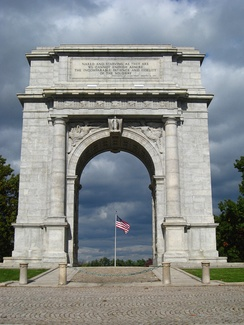 National Memorial Arch, a Revolutionary War memorial in Valley Forge National Historical Park, Chester County, Pennsylvania.