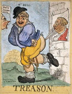 1798 illustration showing John Bull farting on King George III