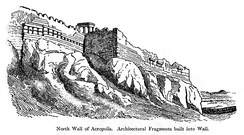 The northern wall of the Acropolis of Athens, built by Themistocles with built-in fragments of destroyed temples.