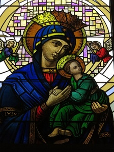 The image as depicted on a stained glass window at Our Lady of Perpetual Help Catholic Church (Grove City, Ohio).
