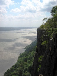 Part of the Palisades Interstate Park, the cliffs of the New Jersey Palisades in Bergen (seen here) and Hudson counties overlook the Hudson River.