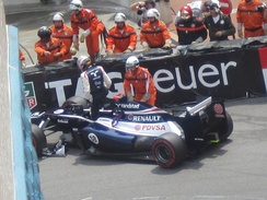 Maldonado crashes his car at the 2012 Monaco Grand Prix