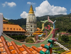The Kek Lok Si Buddhist Temple on Penang Island combines Chinese, Thai and Burmese architectural influences.