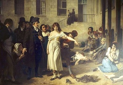Dr. Philippe Pinel at the Salpêtrière, 1795 by Tony Robert-Fleury. Pinel ordering the removal of chains from patients at the Paris Asylum for insane women.