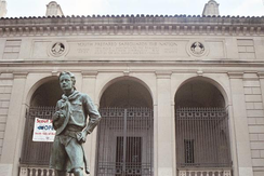 The Ideal Scout, a 1937 statue by R. Tait McKenzie in front of the Bruce S. Marks Scout Resource Center in the Cradle of Liberty Council in Philadelphia