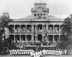 Ceremonies during the annexation of the Republic of Hawaii, 1898