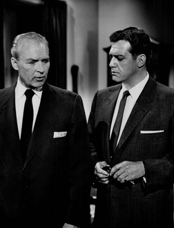 "Ralph Clanton and Burr in the series premiere, ""The Case of the Restless Redhead"" (1957)"