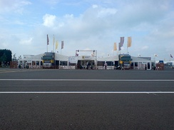 Renault Sport articulated lorrys with extended tents, representing Renault at Silverstone for the Renault World Series.