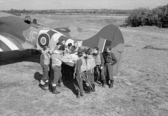 3 Squadron RAF Tempest and air crew during a pre-mission briefing, during the Battle of Normandy, 1944