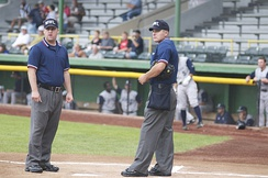 Ryan Blakney (left) and Ben May umpiring in the Midwest League in 2008