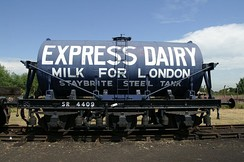 Preserved Express Dairies three-axle Milk Tank Wagon at the Didcot Railway Centre, based on an SR chassis