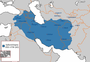 The Safavid Empire at its greatest extent