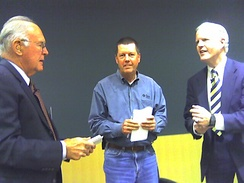 Campbell (right) with Intel founder Gordon Moore and Sun founder Scott McNealy