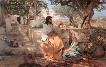 "Christ with Martha and Mary (1886) by Henryk Siemiradzki, showing the conflated ""composite Magdalene"" sitting at Jesus's feet while her sister Martha does chores. Many authors have speculated about Jesus and Mary's relationship, with some claiming she had an especially close relationship to him or that they were married.[293][294]"