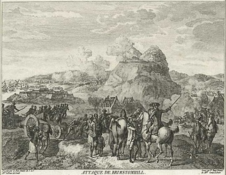 "Siege of Brimstone Hill, 1782, as described by an observer in a French engraving titled ""Attaque de Brimstomhill""."