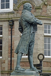 Trevithick's statue by the public library at Camborne, Cornwall