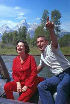 Lady Bird Johnson and Udall on a trip to Grand Teton National Park, August 1964