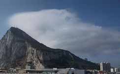 The cap cloud that forms in moist stable easterly winds over the Rock of Gibraltar