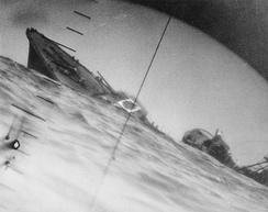 The torpedoed Yamakaze, as seen through the periscope of an American submarine, Nautilus, in June 1942