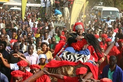 Chief Mwata Kazembe opens the Mutomboko ceremony