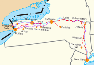 Map of the Water Level Routes of the New York Central Railroad (purple), West Shore Railroad (red) and Erie Canal (blue)