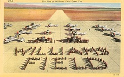 Postcard from Williams Field showing aircraft and cadets standing in formation