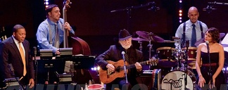 (L-R) Wynton Marsalis, Willie Nelson and Norah Jones during a tour to promote Two Men with the Blues