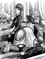 Australian women's rights were lampooned in this 1887 Melbourne Punch cartoon: A hypothetical female member foists her baby's care on the House Speaker. South Australian women were to achieve the vote in 1895.[6]