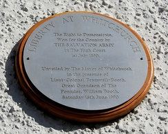 Plaque in The Square, commemorating liberty at Whitchurch won by The Salvation Army in 1890.