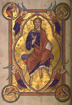 Christ in Majesty, still with no beard, from an English 12th-century illuminated manuscript.