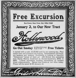 Newspaper advertisement for Hollywood land sales, 1908