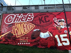 A mural honoring the Kansas City Chiefs on the wall of the Westport Alehouse in Kansas City, MO.