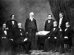 President Buchanan and his Cabinet, c. 1859 (left to right: Jacob Thompson, Lewis Cass, John B. Floyd, James Buchanan, Howell Cobb, Isaac Toucey, Joseph Holt and Jeremiah S. Black)