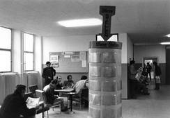 A government unemployment office with job listings, West Berlin, West Germany, 1982.