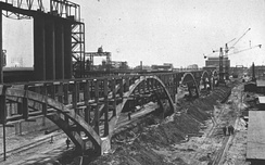 IG Farben synthetic oil plant under construction at Buna Werke (1941). This plant was part of the complex at Auschwitz concentration camp.