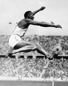 Owens displaying excellent form during his victory in the long jump at the Berlin Olympics