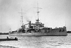 SMS Rheinland, a Nassau-class battleship, Germany's first response to British Dreadnought.