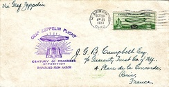 Cover carried on the Graf Zeppelin from 1933 Century of Progress Exposition franked with C-18 US Air Mail stamp issued for the airship's visit.