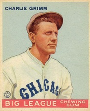 A 1933 Goudey baseball card of Charlie Grimm as a member of the Chicago Cubs.