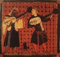 Christian and Muslim playing lute, miniature from Cantigas de Santa Maria by king Alfonso X. 13th century.