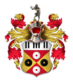 "Sir Elton John's coat of arms. Granted to him in 1987, the crest includes piano keys and records. The Spanish motto, ""el tono es bueno"", combines a pun on the singer's name with the translation ""the tone is good"".[211] The black, red and gold colours are also those of Watford FC. The steel helmet above the shield faced forwards and with its visor open indicates that John is a knight."