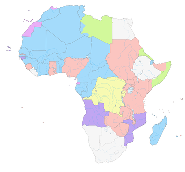Map showing French colonies (in blue) in Africa in 1930; viz. French Equatorial Africa, French North Africa, French Somaliland and French West Africa. Along with former Belgian colonies (shown in yellow), these areas today make up the bulk of francophone Africa.