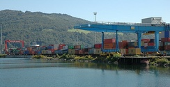 The container terminal at the harbour.