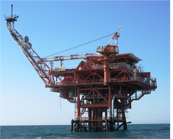An offshore platform in the Darfeel Gas Field.