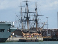 HMS Victory at drydock in Portsmouth Harbour, 2007